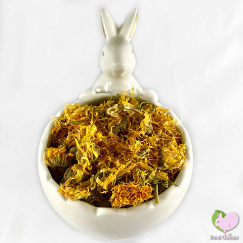 Calendula flowers whole, pedals and buds, yellow for rabbits, guinea pigs, chinchillas, hamsters, degus and gerbils