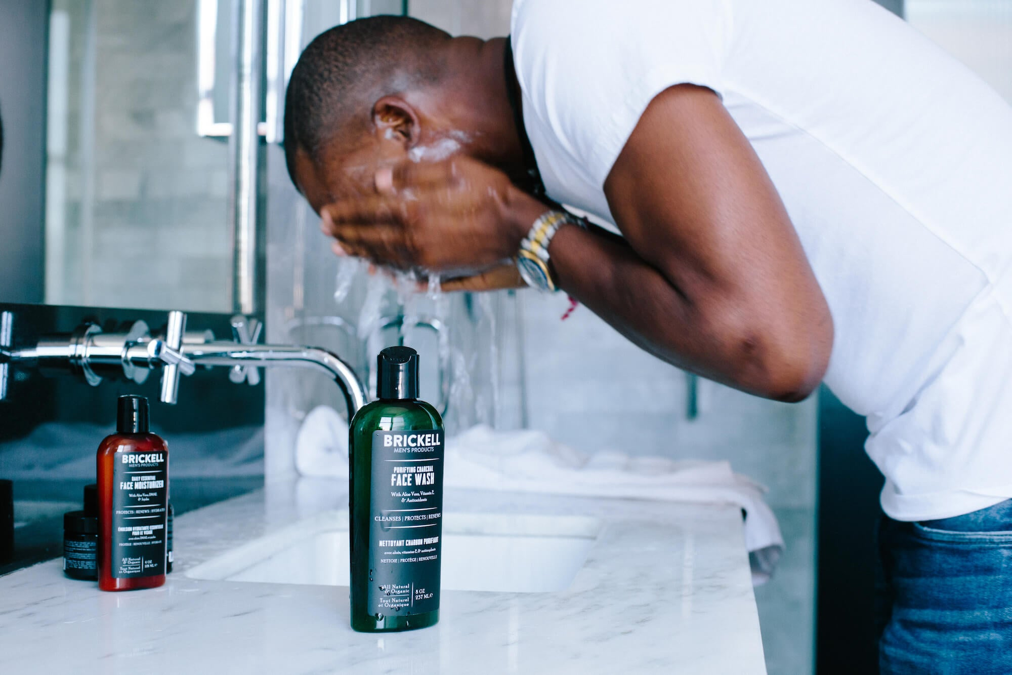 A basic men's face care routine with face wash and moisturizer.