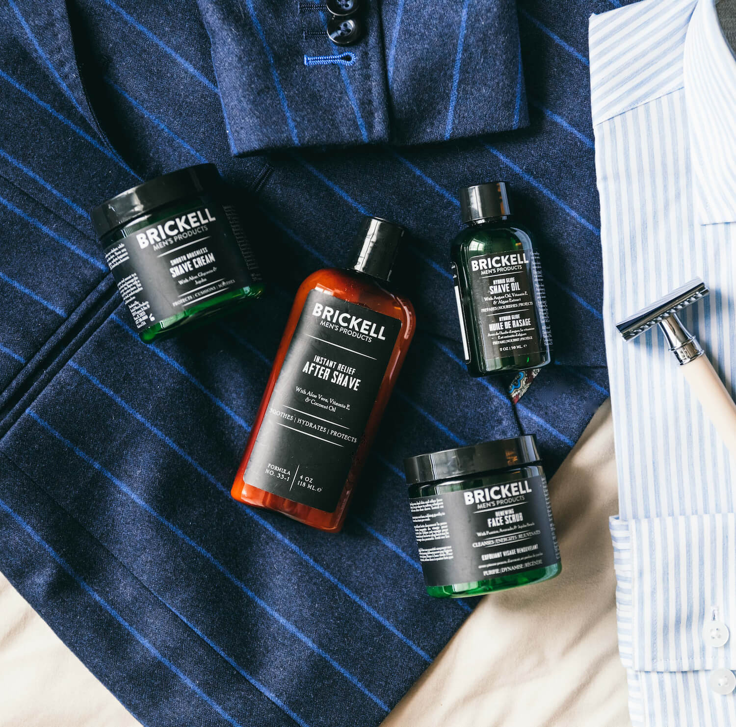 Face Scrub, Shave Oil, Shave Cream, and Aftershave
