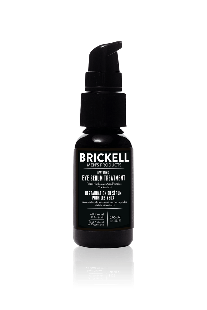 Natural eye treatment serum for men to reduce and treat dark circles, bags, wrinkles, and crows feet by Brickell Men's Products