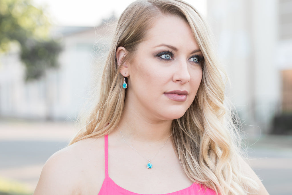 Sky Blue Druzy Jewelry Set by Starletta Designs