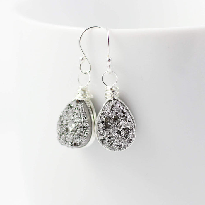 Sterling Silver Druzy Teardrop Earrings