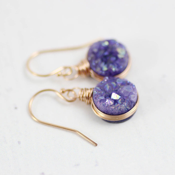 Purple Rose Gold Druzy Circle Earrings