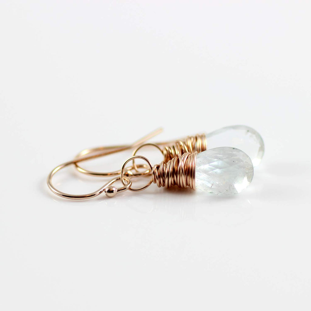Light Blue Aquamarine Rose Gold Drop Earrings