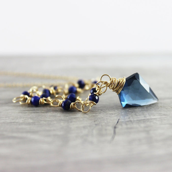 Blue Lapis and Quartz Beaded Necklace - As Worn on Fuller House
