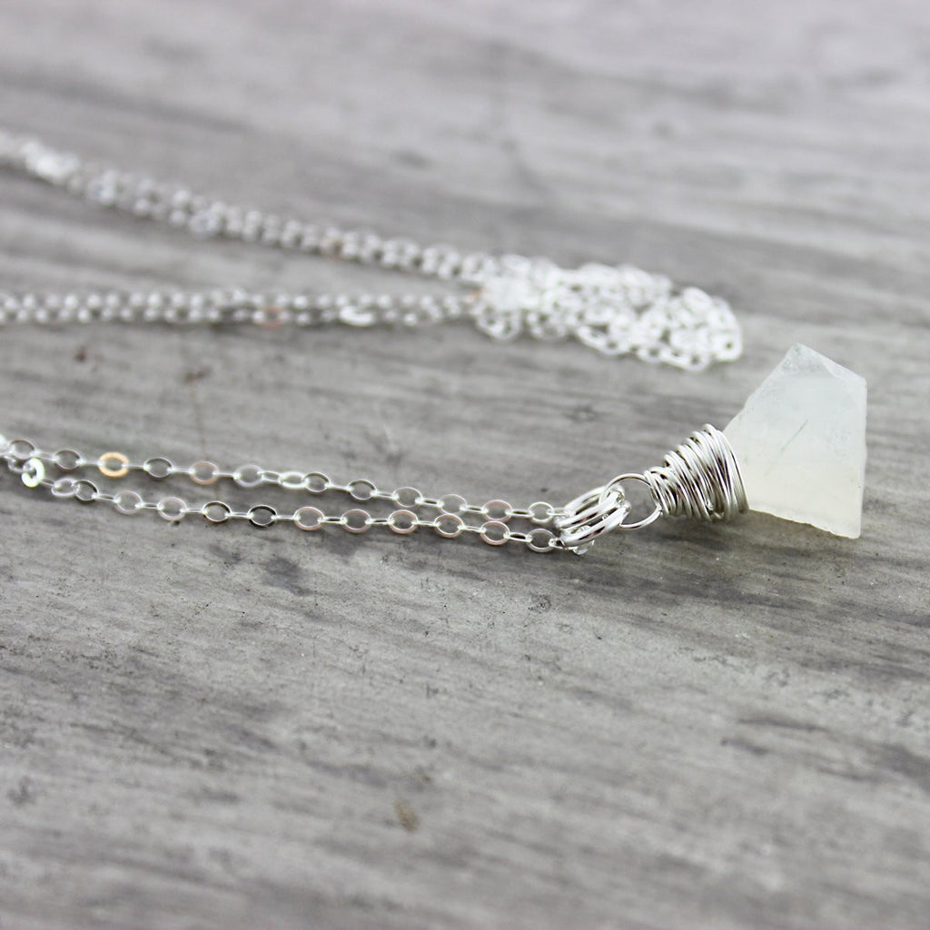 Raw Rainbow Moonstone Sterling Silver Necklace