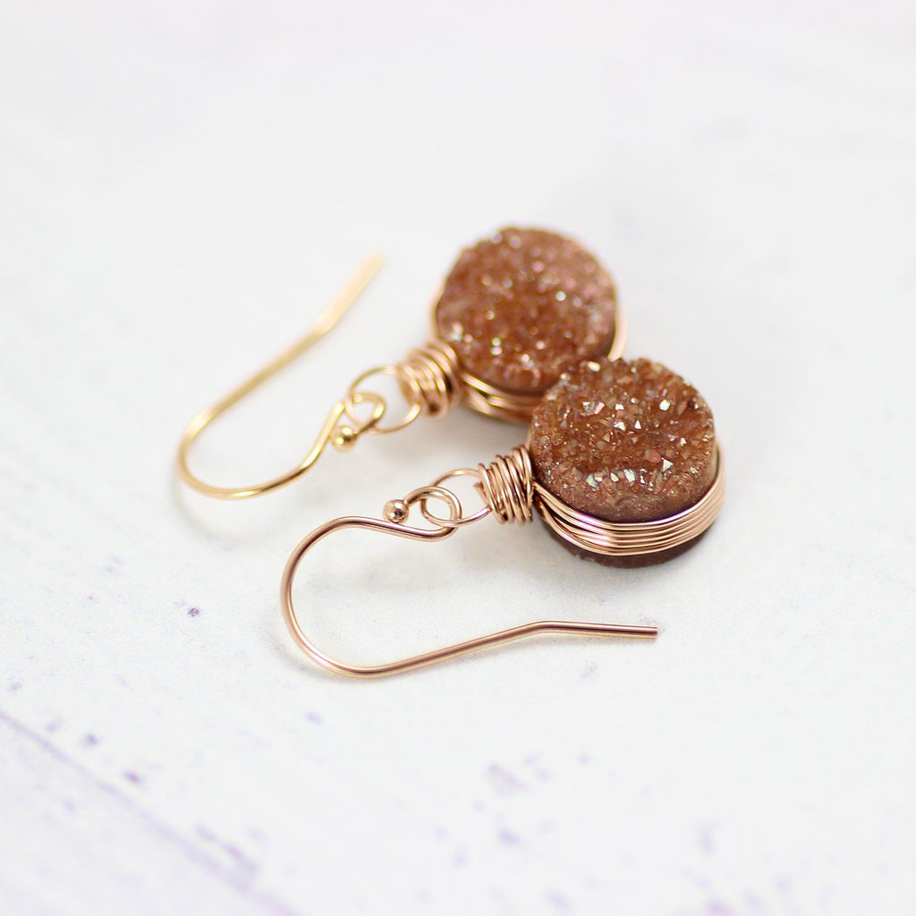 Dark Orange Druzy Rose Gold Earrings