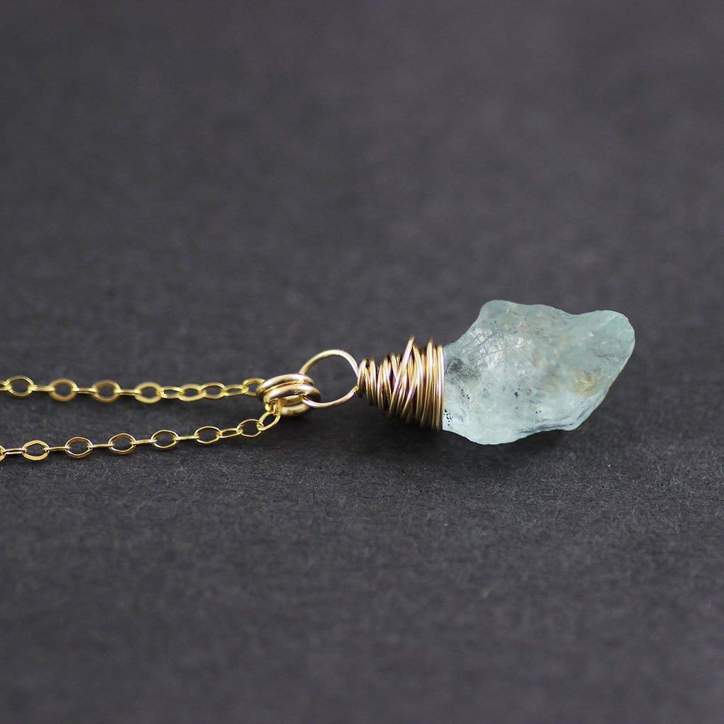 Blue Aquamarine Gemstone Gold Filled Raw Stone Necklace