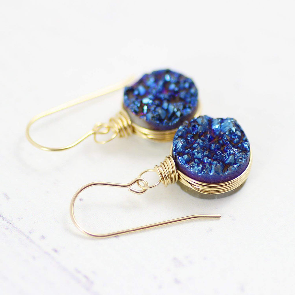 Dark Blue Druzy Gold Circle Earrings