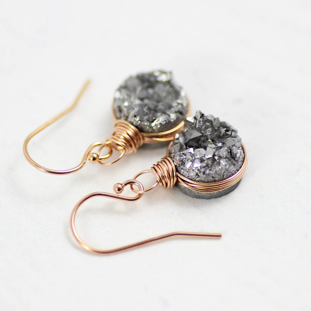 Rose Gold Druzy Geode Bridesmaid Dangle Earrings
