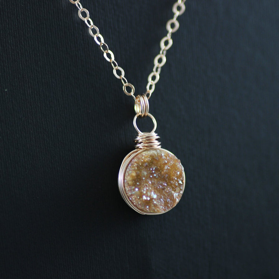 Dark Orange Druzy Rose Gold Necklace