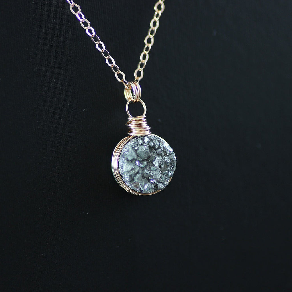 Silver Druzy Rose Gold Circle Pendant Necklace