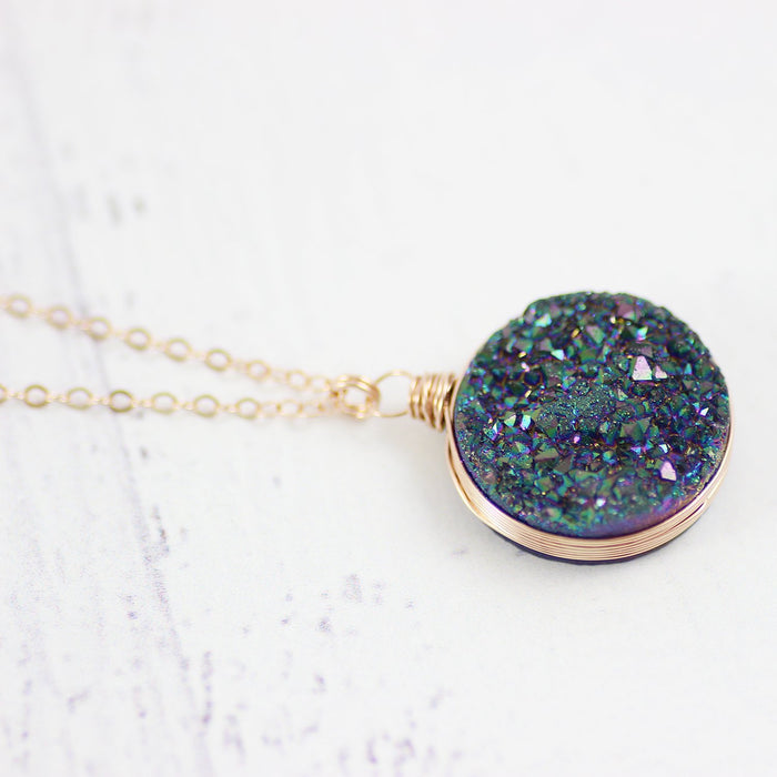 Large Rainbow Druzy Rose Gold Necklace