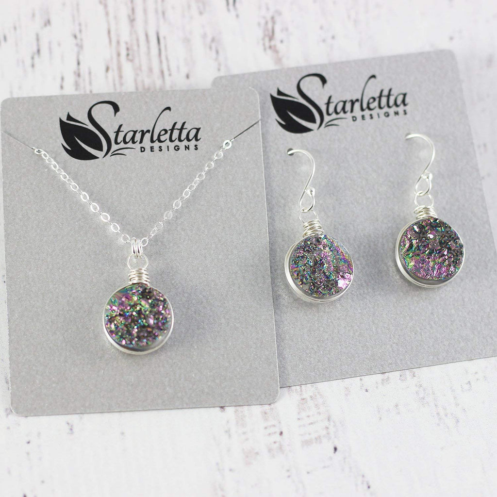 Rainbow Druzy Geode Sterling Silver Necklace and Earrings Gift Set