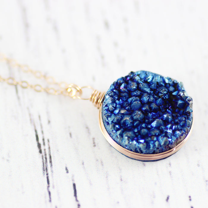 Blue Druzy Geode Gemstone Rose Gold Pendant Necklace