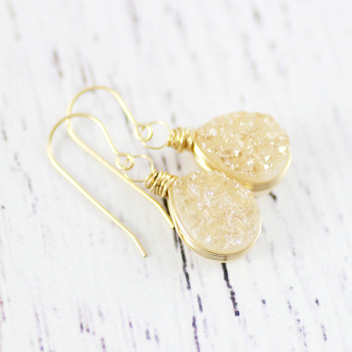 Champagne Druzy Gold Teardrop Earrings