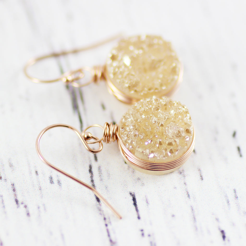 Champagne Druzy Rose Gold Circle Drop Earrings