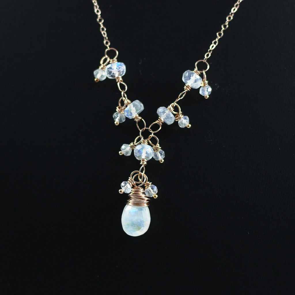 Rainbow Moonstone Rose Gold Beaded Wedding Necklace