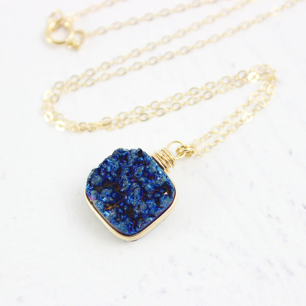 Dark Blue Druzy Square Gold Filled Necklace