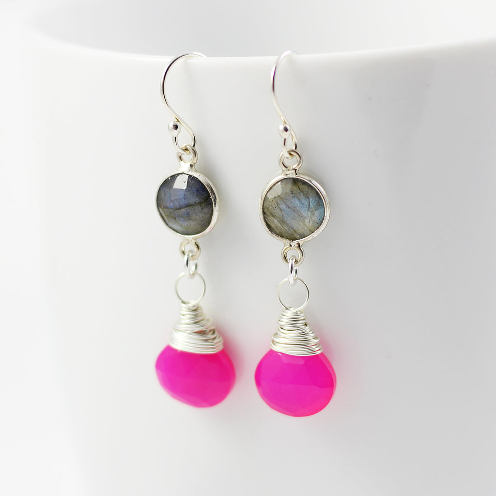 Labradorite and Hot Pink Retro Sterling Silver Earrings