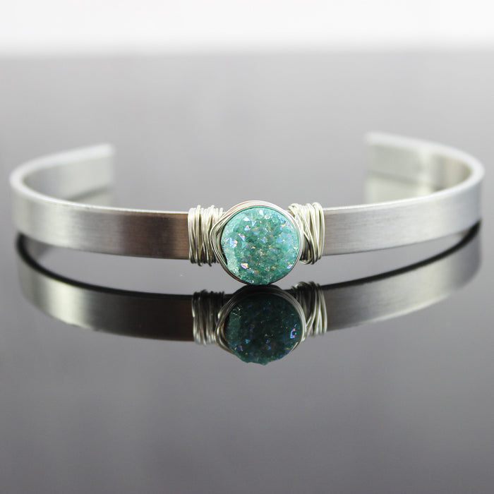 Light Green Druzy Silver Cuff Bracelet