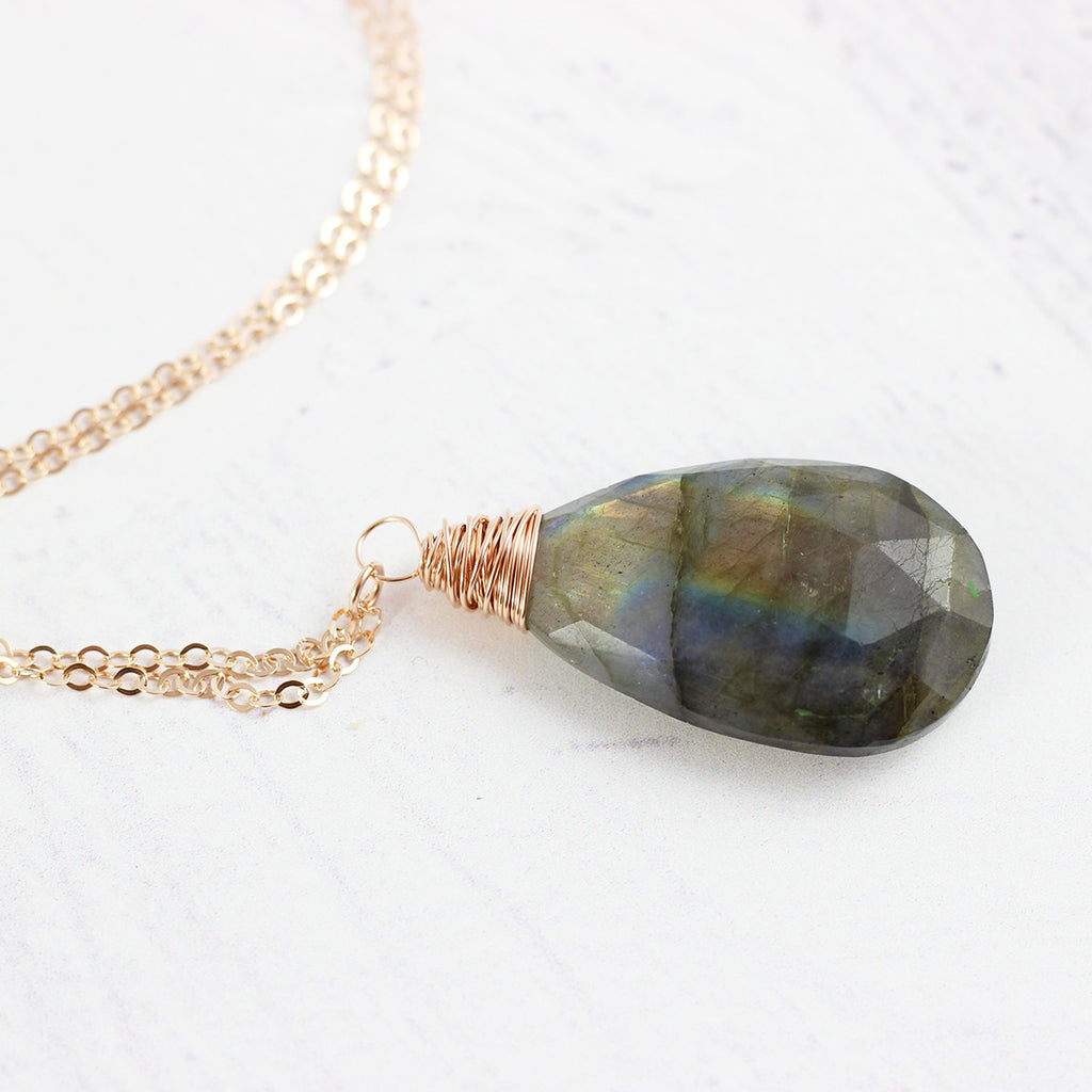 Labradorite Teardrop Rose Gold Necklace
