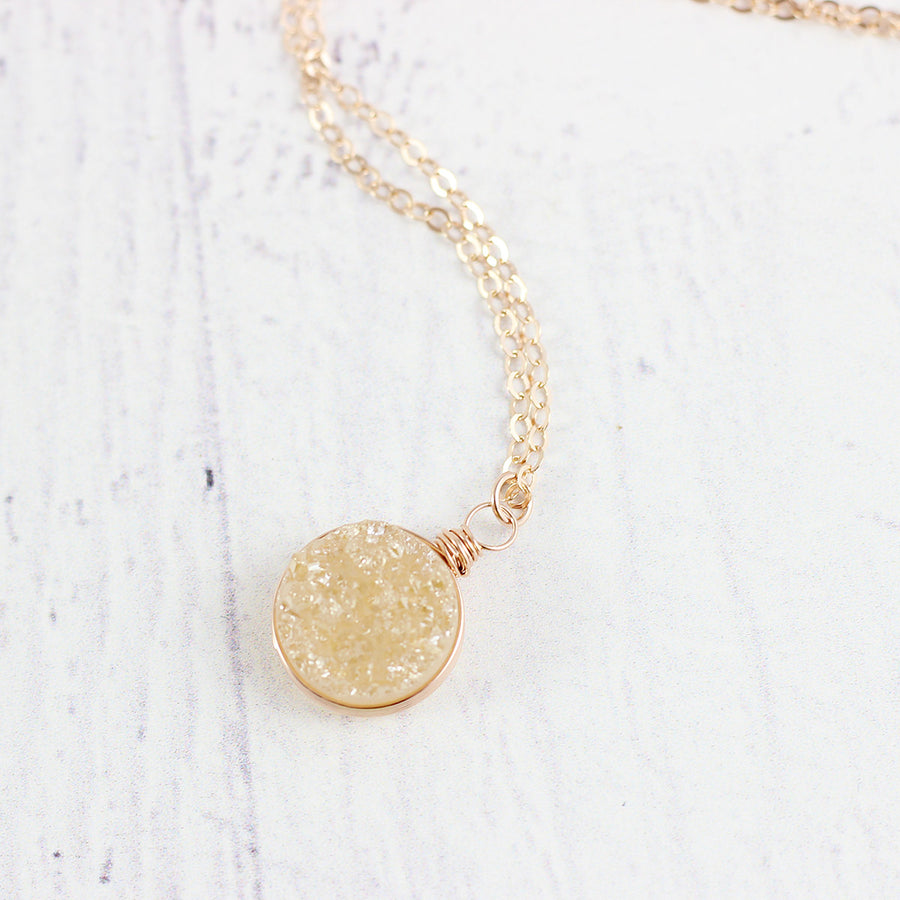Champagne Druzy Rose Gold Circle Necklace