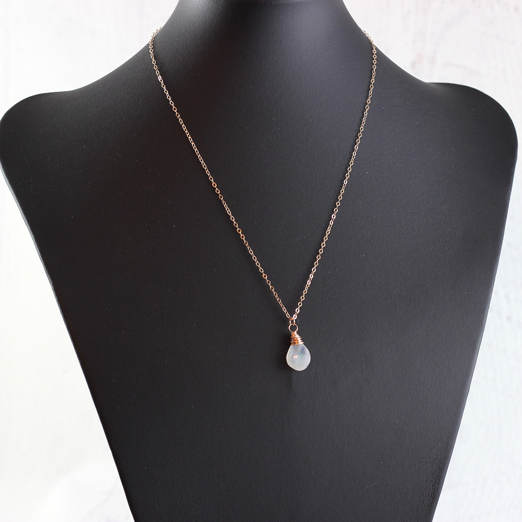 Rainbow Moonstone Rose Gold Teardrop Necklace