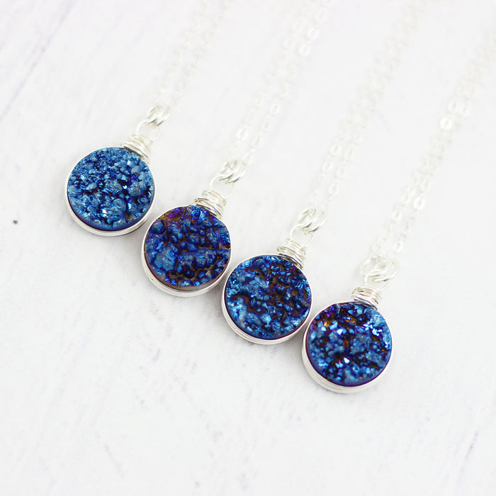 Dark Blue Druzy Silver Circle Necklace