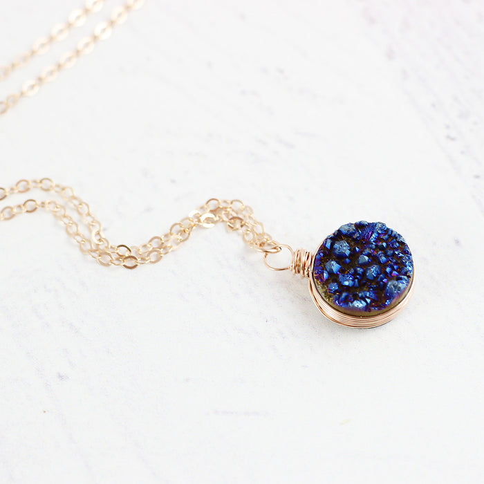 Dark Blue Druzy Rose Gold Circle Necklace
