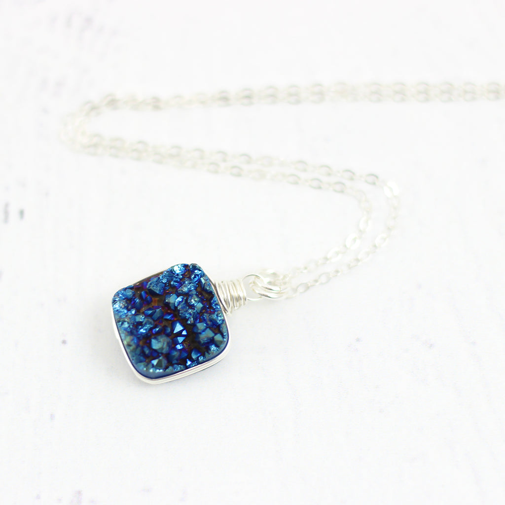Dark Blue Druzy Sterling Silver Square Necklace