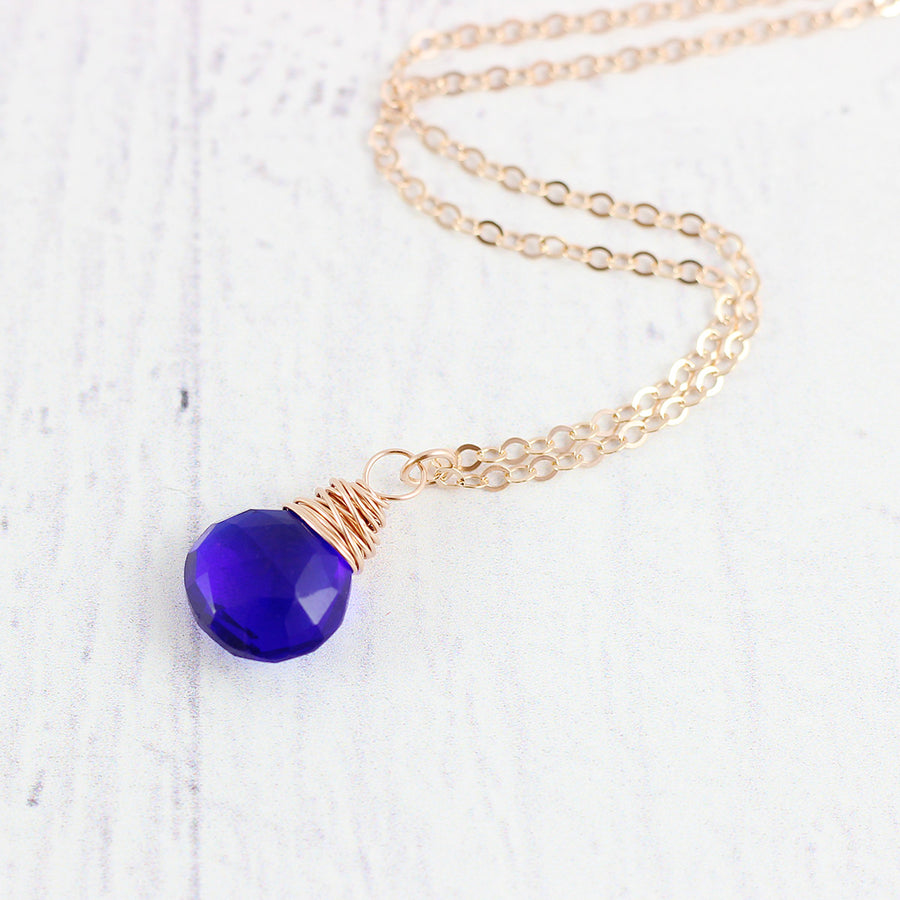 Royal Blue Quartz Rose Gold Necklace