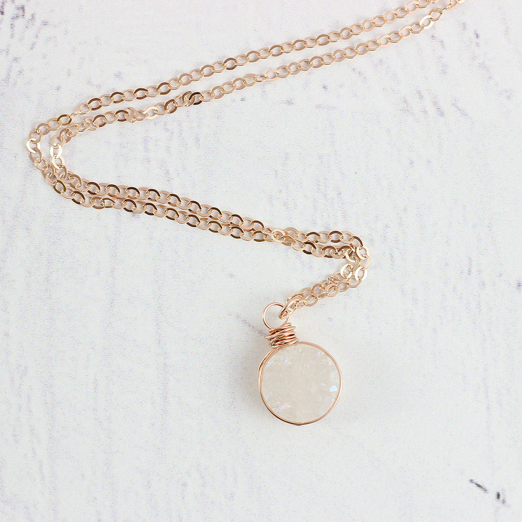 White Druzy Rose Gold Circle Necklace