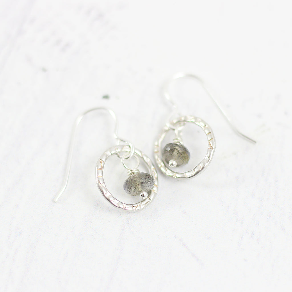 Labradorite Small Silver Circle Drop Earrings - As Worn on Arrow