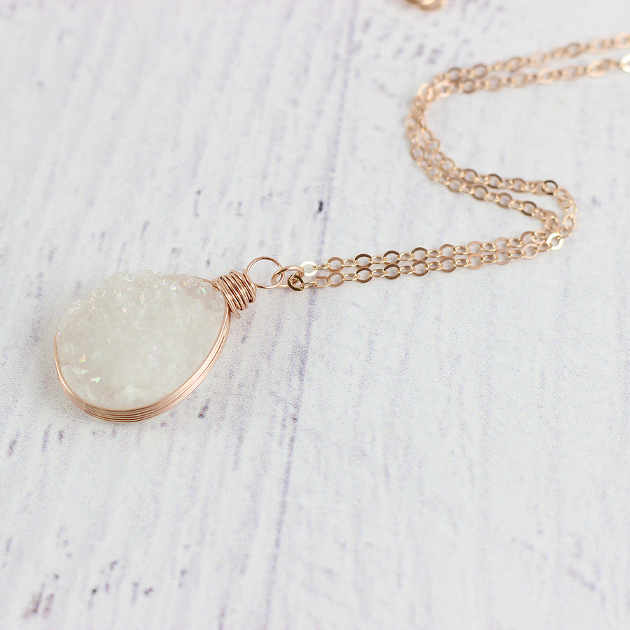 White Druzy Rose Gold Teardrop Necklace