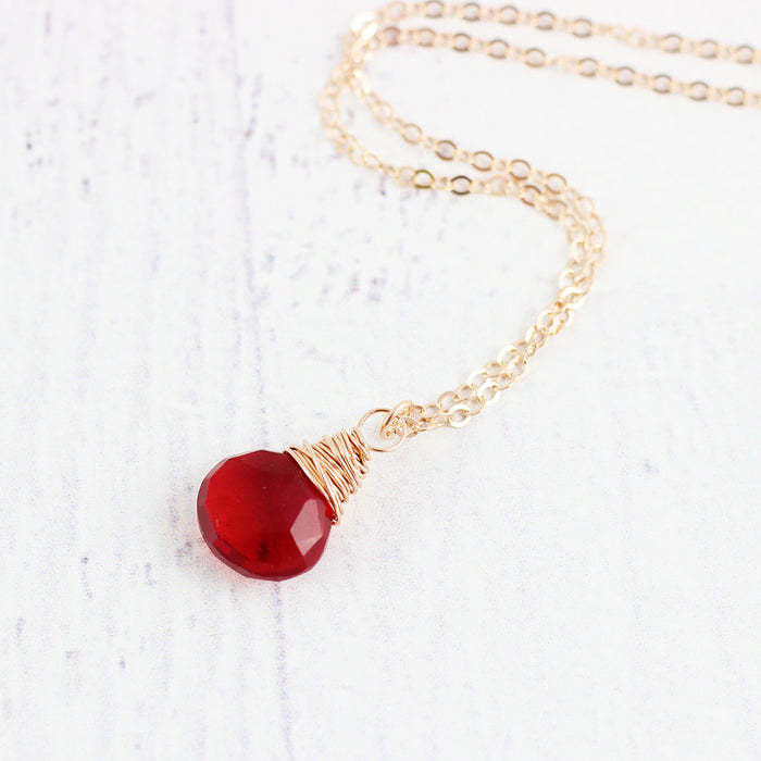 Apple Red Quartz Rose Gold Necklace