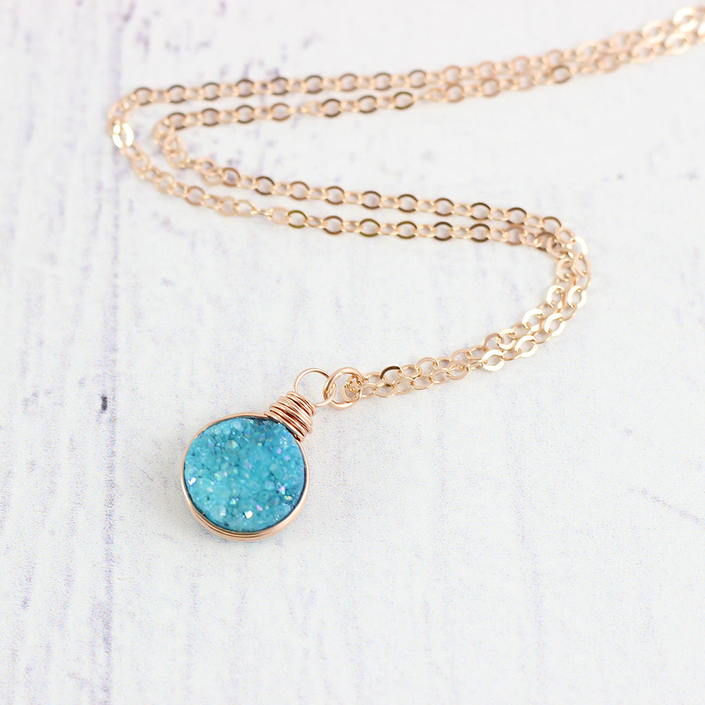 Sky Blue Druzy Rose Gold Circle Necklace