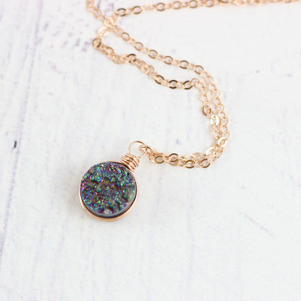 Rainbow Druzy Rose Gold Circle Necklace