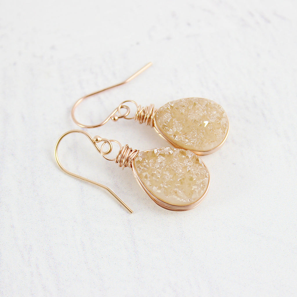 Champagne Druzy Rose Gold Teardrop Earrings