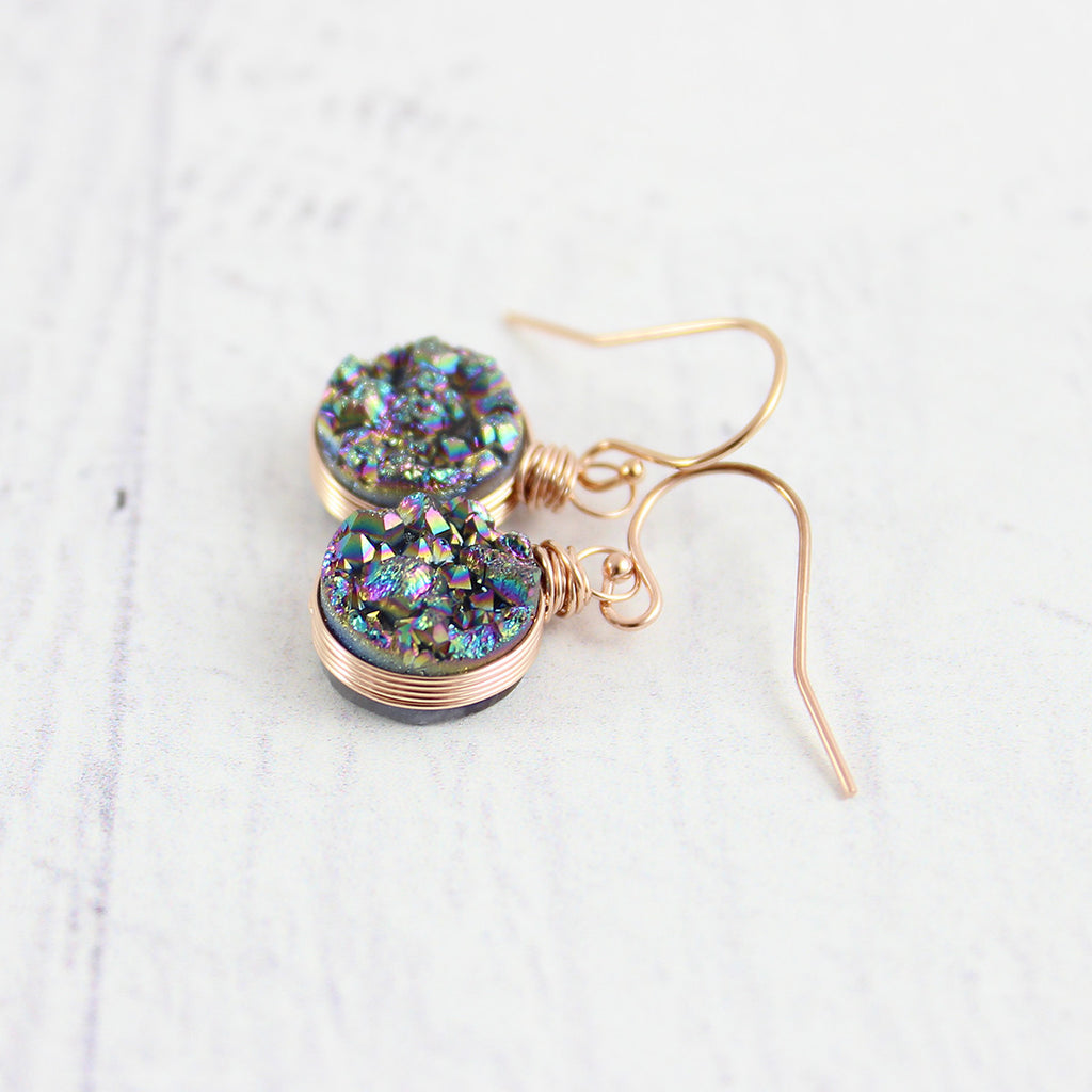 Rainbow Druzy Rose Gold Circle Earrings