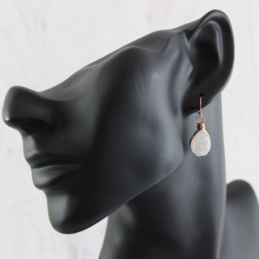 White Druzy Rose Gold Teardrop Earrings