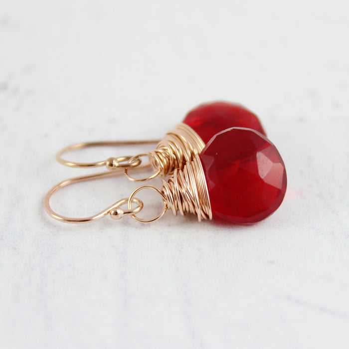 Apple Red Quartz Rose Gold Earrings