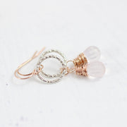 Pink Rose Quartz Mixed Metal Earrings in Sterling Silver and Rose Gold