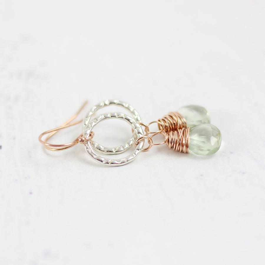 Green Amethyst Dangle Earrings in Sterling Silver and Rose Gold