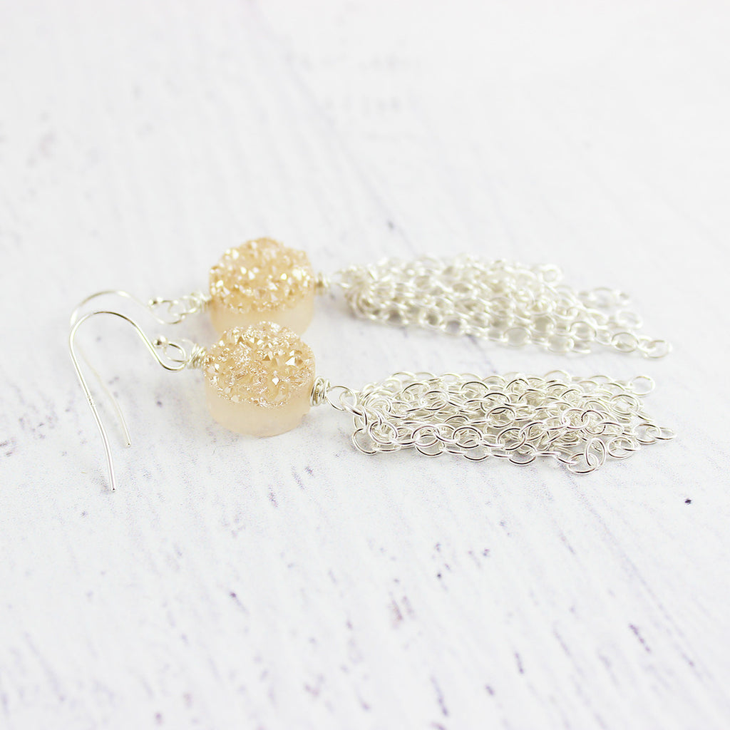 Champagne Druzy Silver Tassel Earrings