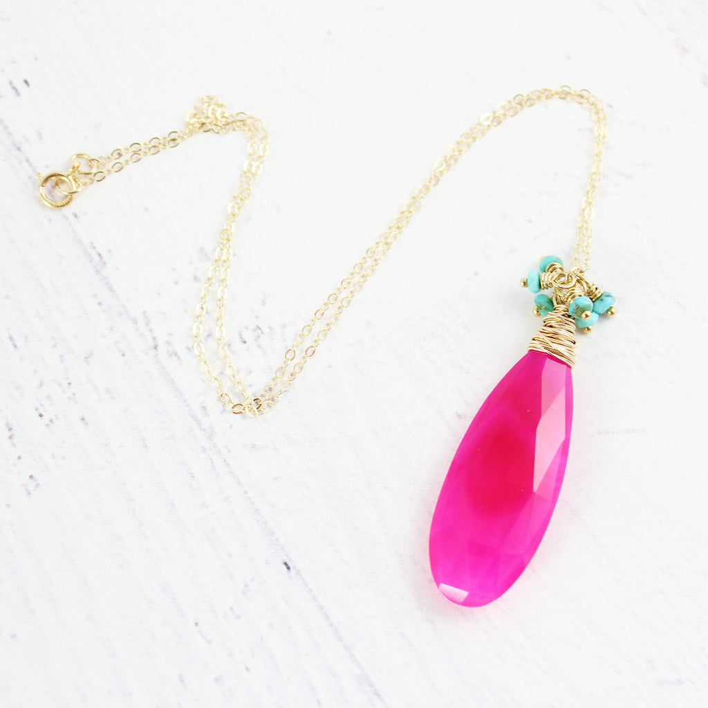 Hot Pink Chalcedony and Turquoise Stone Necklace