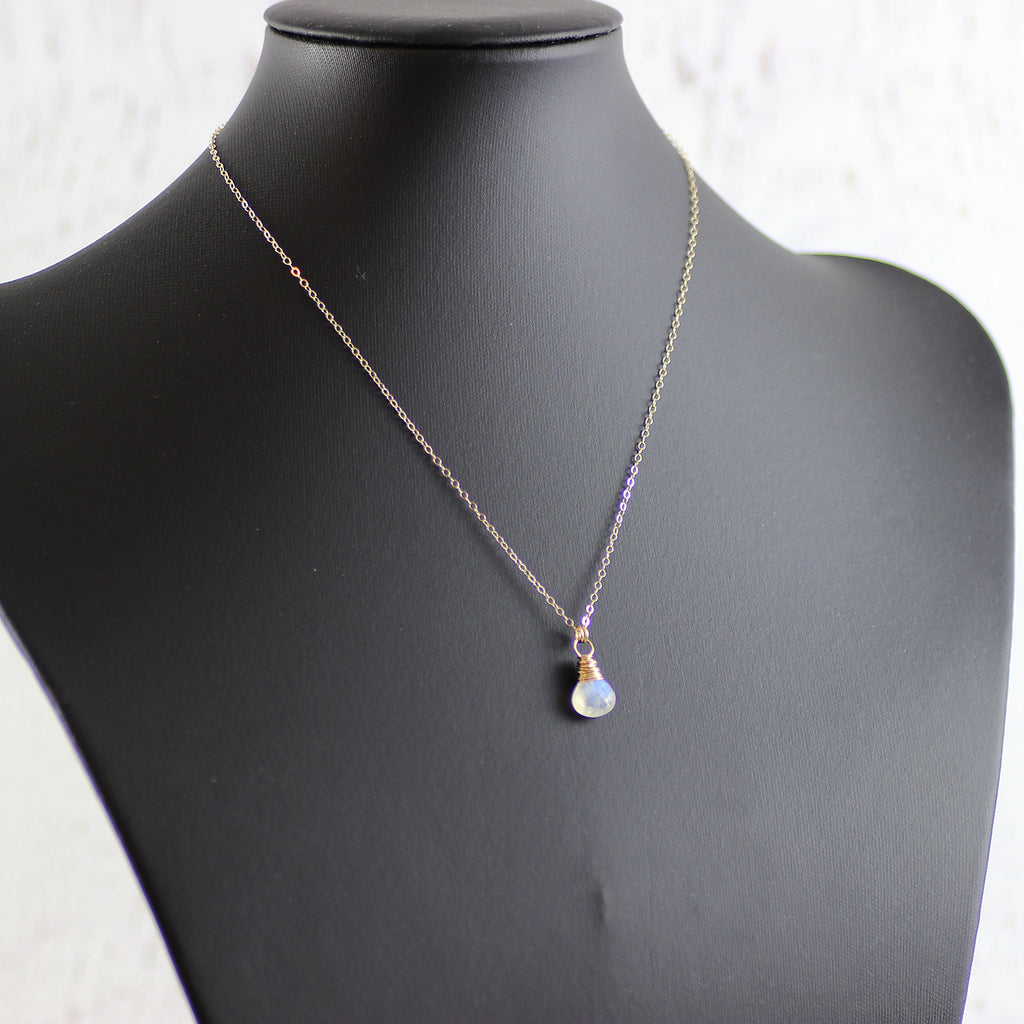 Rainbow Moonstone Gold Stone Necklace