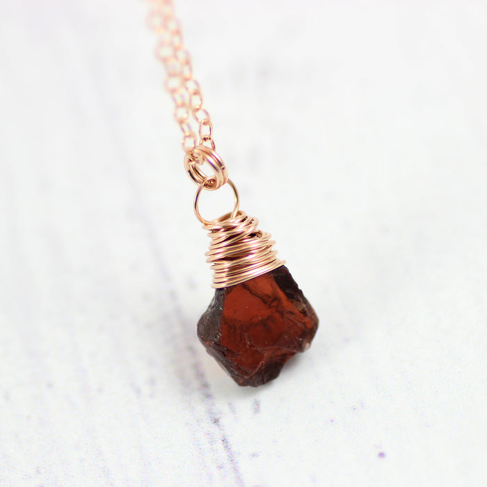 Raw Garnet Gemstone Rose Gold Necklace