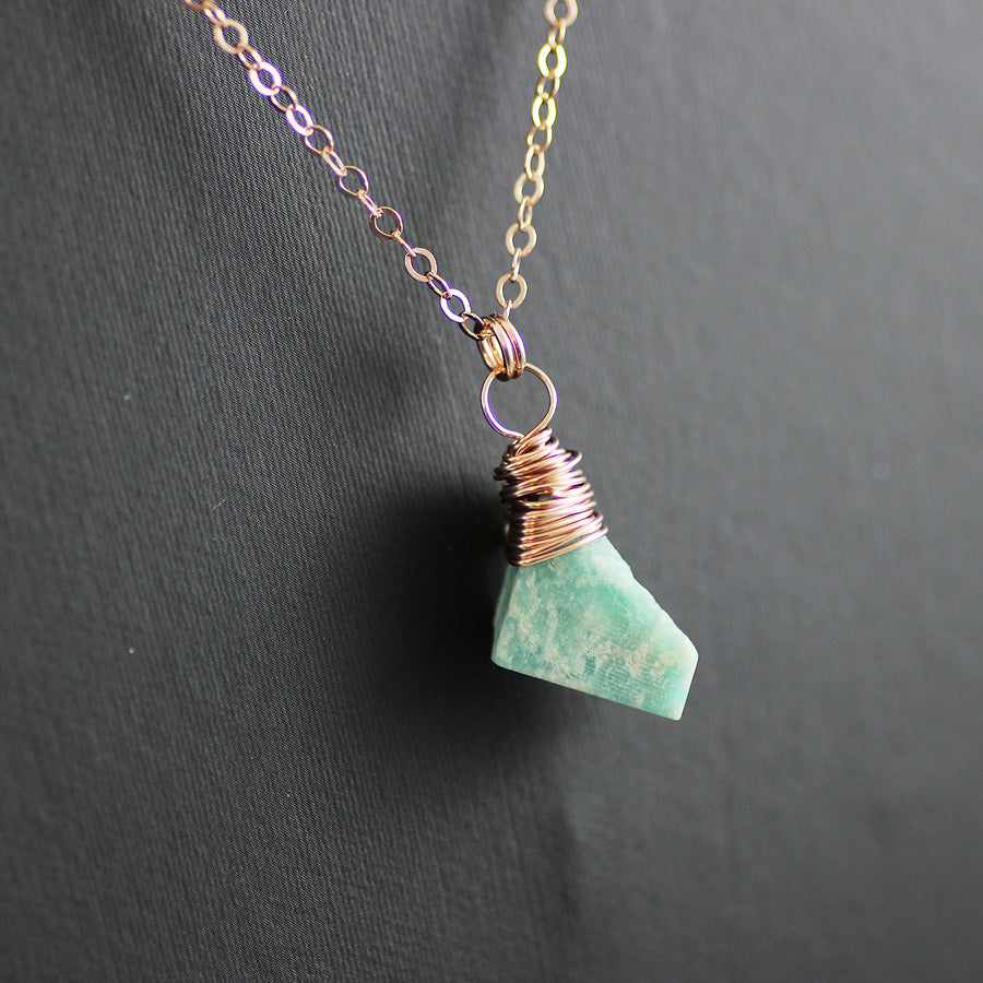 Raw Amazonite Rose Gold Gemstone Necklace