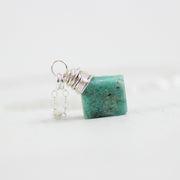 Raw Amazonite Sterling Silver Stone Necklace